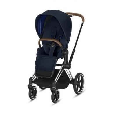 Nouvelle Poussette Priam Cybex Nautical Blue, châssis chrome poignée cuir marron 2020
